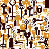 image of skeleton key  - Seamless background of keys icons - JPG