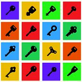 picture of skeleton key  - Multicolor icon set of keys - JPG