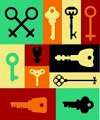 pic of key  - Retro icons set of keys  - JPG