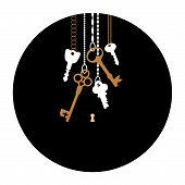 foto of skeleton key  - Illustrations of the keys and keyhole in circle - JPG