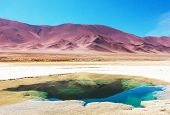 picture of salt mine  - Ojo del Mar in a salt desert in the Jujuy Province - JPG