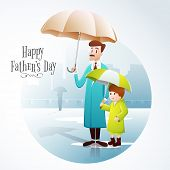 stock photo of rainy day  - Illustration of a father and son wearing rain coat - JPG