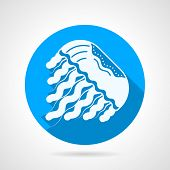 pic of jellyfish  - Single blue round flat style vector icon with white silhouette jellyfish on gray background with long shadows - JPG
