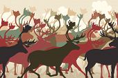 foto of caribou  - Illustration of a reindeer or caribou herd migrating - JPG