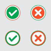 foto of voting  - Vector Set of Flat Design Check Marks Icons - JPG