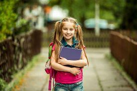 picture of schoolgirl  - Little pretty schoolgirl with the book on the street - JPG