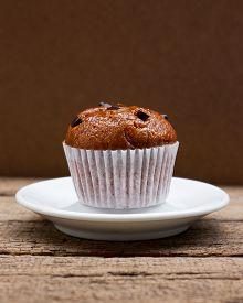 stock photo of chocolate muffin  - Homemade Chocolate chip muffin - JPG