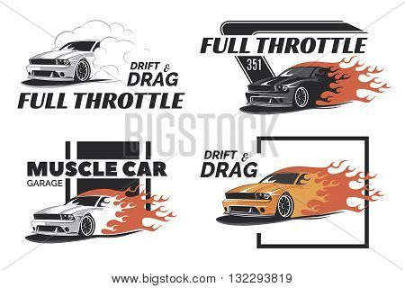 poster of Set of muscle logo badges and emblems isolated on white background. Service car repair car restoration and car club design elements. T-shirt design. American muscle car for printing.