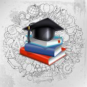 Black graduation cap and stack of books on doodle hand drawn background with different school object poster