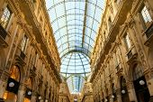 stock photo of milan  - Famous shopping center Vittorio Emanuele II Shopping Gallery  - JPG