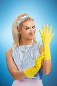 Постер, плакат: Красивые счастливые домохозяйка с резиновые перчатки