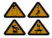 pic of slip hazard  - construction hazard signs mind your head falling objects electric shock and slippery surface - JPG