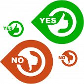 Yes and No icon. Vector set.
