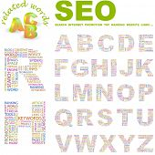 SEO. Vector letter collection. Wordcloud illustration.