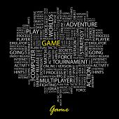 GAME. Word collage on black background. Vector illustration.
