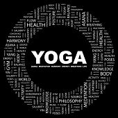 YOGA. Word collage on black background. Illustration with different association terms.