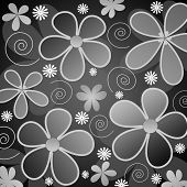 image of white flower  - illustration of retro styled grey and white flowers on black background - JPG