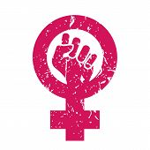 Feminism Symbol Vector. Feminism Power. Lgbt Society. Female Icon. Feminist Hand. Girls Rights. Fema poster