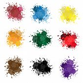 Colored Ink Or Paint Paint Splashes Vector. Paint Splash Or Splat, Splattered Ink, Dirty Blots Artis poster