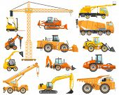 Silhouette Illustration Of Heavy Construction Equipment And Mining Machinery. Building Machinery. Sp poster