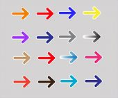 Set Multicolor Arrows Icon On White Background. Set Multicolor Arrows Sign. Flat Style. Multicolor A poster