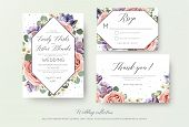 Wedding Floral Invitation, Rsvp, Thank You Card Elegant Botanical Design With Lavender Pink Garden R poster