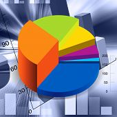 foto of pie chart  - an illustration of accounts pie chart in different colors - JPG