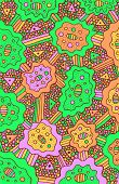Background Psychedelic Surreal Illustration With Psychedelic Acid Doodles. Vector Graphic Art. poster