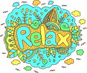 Graphic Art With Mandala And Relax Word. Doodle Lettering Surreal Fantasy Artwork. Vector Illustrati poster