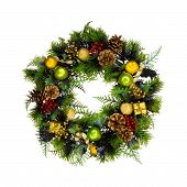 stock photo of christmas wreaths  - Christmas decoration wreath isolated on white background - JPG