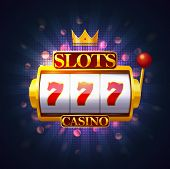 Slot Machine With Lever And Three Sevens On Screen. Casino Fruit Machine Or Puggy, Pokies Or One-arm poster