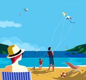 Kiting On Sea Beach. Family Leisure Activity On Sand Seashore. Colorful Cartoon. Adult Father, Small poster