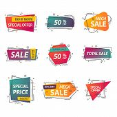 Discount Geometric Tags Or Linear Stickers With Prices. Labels For Advertisement Of Closeout, Coupon poster