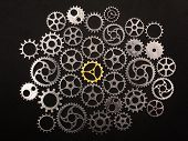Gold cogwheel surrounded by silver cogwheels. Uniqueness and individuality. poster