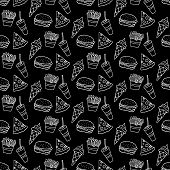 Cute Cartoon Fast Food Background With Hand Drawn Fast Food. Sweet Vector Black And White Fast Food  poster