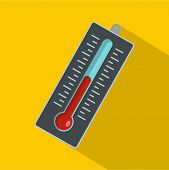 Big Thermometer Icon. Flat Illustration Of Big Thermometer Vector Icon For Web poster