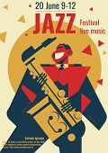 Jazz Music Festival Poster Vector Illustration. Jazz Club Band Concert Placard Flat Retro Or Modern  poster