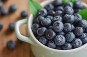 Fresh Blueberries Heap In Ceramic Bowl In Close Up View. Macro Concept Of Wild Blueberries With Copy poster