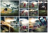 The Collage About Football Player In Motion On The Field Of Stadium With Lights. The Professional Fo poster