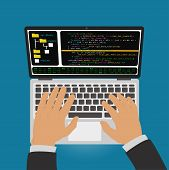 The Programmer Develops A Program Code In The Editor Integrated Development Environment On Laptop. poster