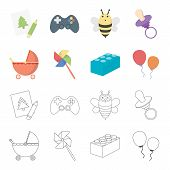 Stroller, Windmill, Lego, Balloons.toys Set Collection Icons In Cartoon, Outline Style Vector Symbol poster