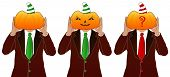 stock photo of jack-o-laterns-jack-o-latern  - We see tree men in the suits with pumpkin heads - JPG