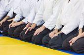 People in kimono and hakama sitting in a line on tatami