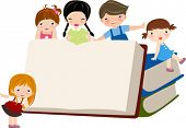 stock photo of playmates  - Children and books - JPG