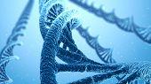 DNA Spiral Blue Science Background. Scientific 3D Illustration. poster