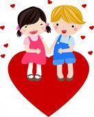 Постер, плакат: мальчик и девочка влюбиться в