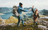 Happy Couple In Love Giving Five Hands On The Top Of Mountain Travel Lifestyle Joy Emotions Concept  poster