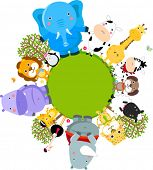 stock photo of jungle animal  - Happy cartoon world globe surrounded by animals - JPG