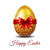 Easter Card With Bright Gold Easter Egg Tied Of Red Ribbon With A Big Bow And Text Happy Easter. Ele poster
