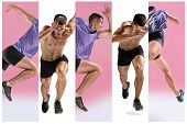 The Studio Shot Of High Jump Athlete Is In Action Isolated On White Background. Collage With One Fit poster